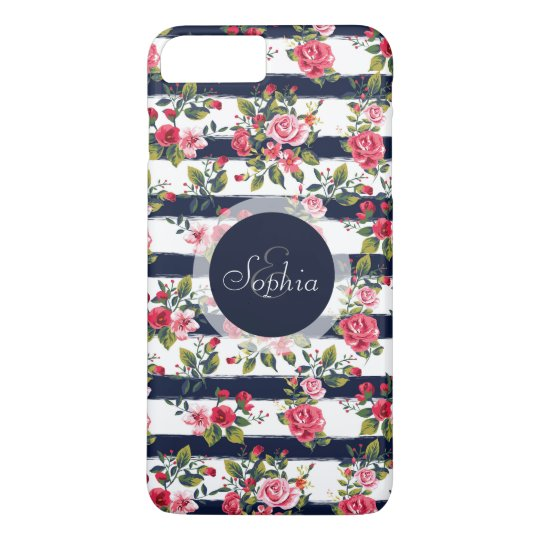 Girly vintage roses floral watercolor stripes iPhone 7