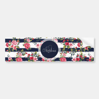 Girly vintage roses floral watercolour stripes bumper sticker