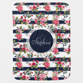 Girly vintage roses floral watercolour stripes receiving blankets