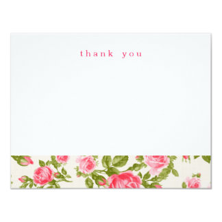 Girly Vintage Roses Simple Thank You Note Cards 11 Cm X 14 Cm Invitation Card