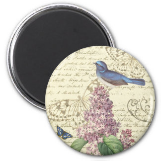 Girly vintage round magnet with bird and lilac