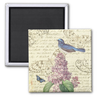 Girly vintage square magnet with bird and lilac