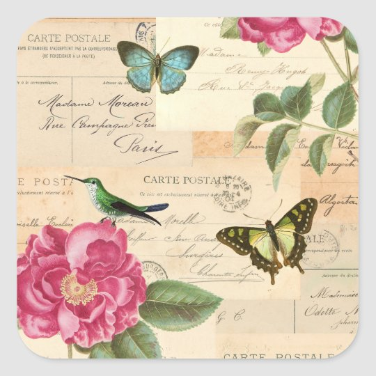 Girly vintage sticker w/ roses and butterflies