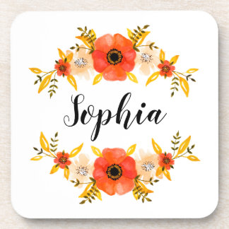 Girly Watercolor Coral Floral Wreath Custom Text Coaster