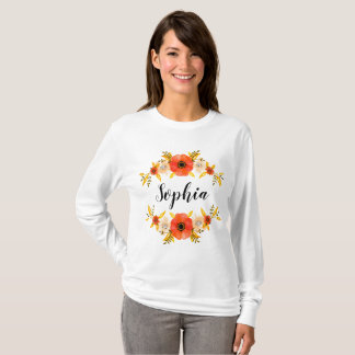 Girly Watercolor Coral Floral Wreath Custom Text T-Shirt