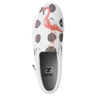 Girly Watercolor Flamingo Brushed Dots Personalize Slip On Shoes