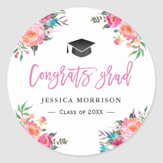 Girly Watercolor Floral Congrats Graduation Favor Round Sticker