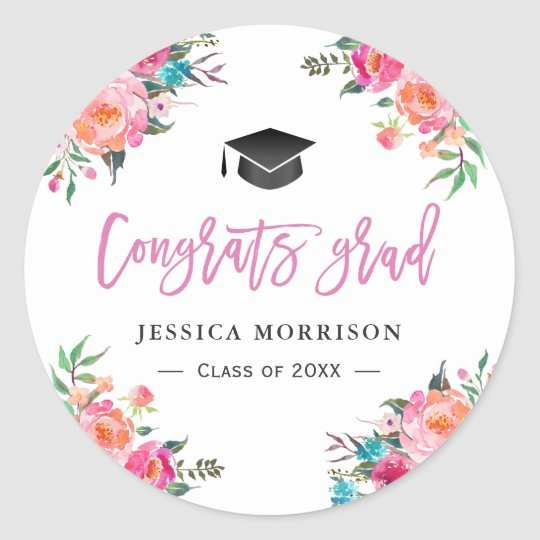Girly Watercolor Floral Congrats Graduation Favour Classic Round Sticker