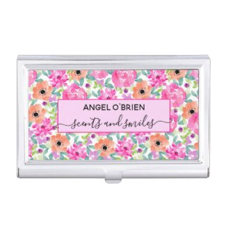 Girly Watercolor Floral Pink and Coral Business Card Holder