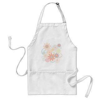 Girly Watercolor Pastel Floral Design Standard Apron