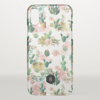 Girly Watercolor Pink Cactus Pattern Personalized iPhone X Case