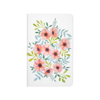 Girly Watercolor Pink Floral Illustration Journal