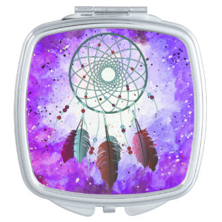 Girly Watercolor Space Nebula Dream Catcher Travel Mirrors
