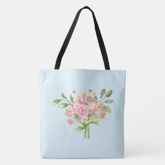 Girly Watercolor Spring Flowers Tote Bag