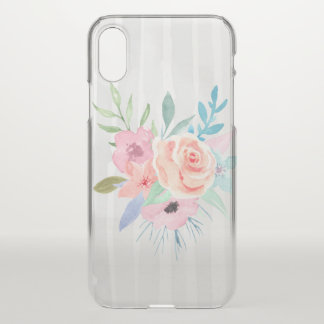 Girly Watercolor Style Flowers and Stripes iPhone X Case
