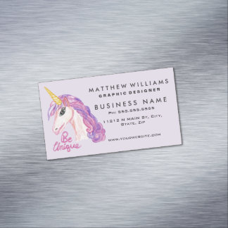 Girly Watercolor Unicorns Be Unique Typography Magnetic Business Cards