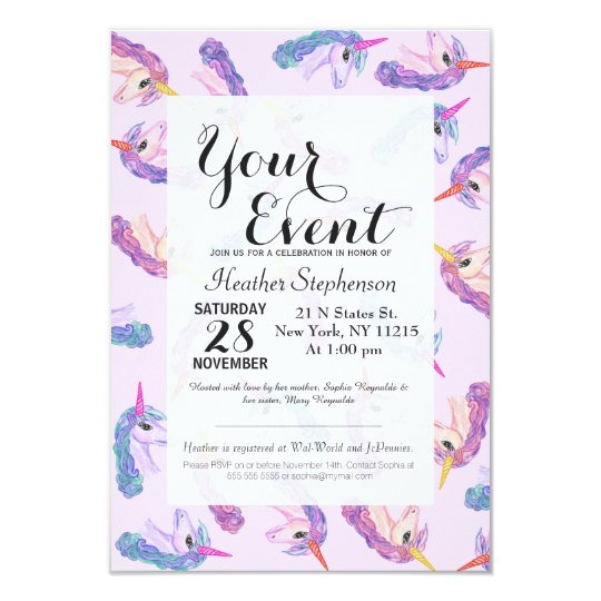 Girly Watercolor Unicorns Pattern in Pink Purple Card