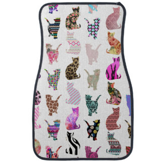 Girly Whimsical Cats aztec floral stripes pattern Car Mat