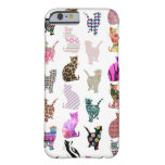 Girly Whimsical Cats aztec floral stripes pattern Barely There iPhone 6 Case