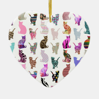 Girly Whimsical Cats aztec floral stripes pattern Christmas Ornament