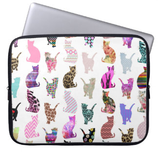 Girly Whimsical Cats aztec floral stripes pattern Computer Sleeves