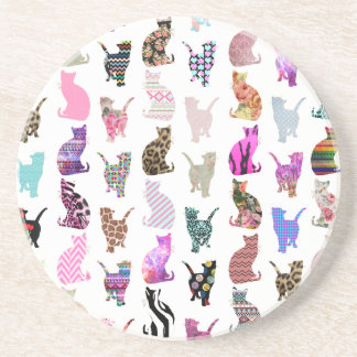 Girly Whimsical Cats aztec floral stripes pattern Drink Coaster