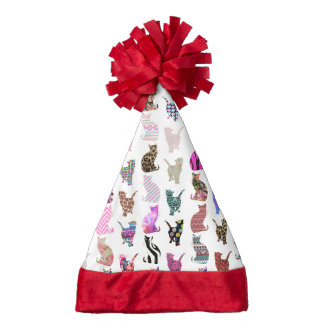 Girly Whimsical Cats aztec floral stripes pattern Santa Hat