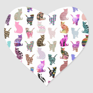 Girly Whimsical Cats aztec floral stripes pattern Heart Sticker