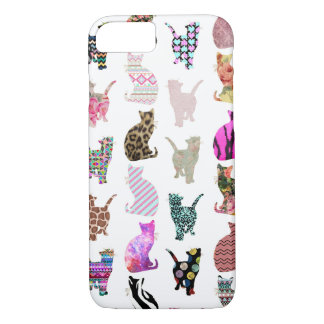 Girly Whimsical Cats aztec floral stripes pattern iPhone 8/7 Case