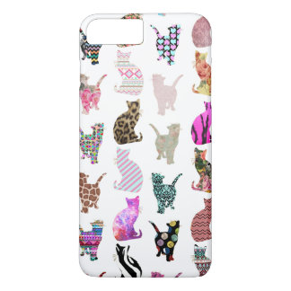 Girly Whimsical Cats aztec floral stripes pattern iPhone 8 Plus/7 Plus Case