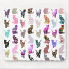 Girly Whimsical Cats aztec floral stripes pattern Mouse Mat