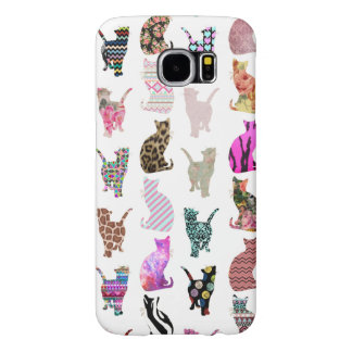 Girly Whimsical Cats aztec floral stripes pattern Samsung Galaxy S6 Cases