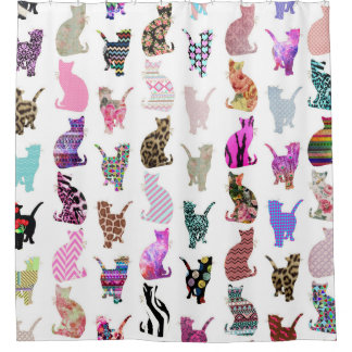 Girly Whimsical Cats aztec floral stripes pattern Shower Curtain