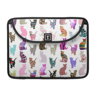 Girly Whimsical Cats aztec floral stripes pattern Sleeve For MacBook Pro