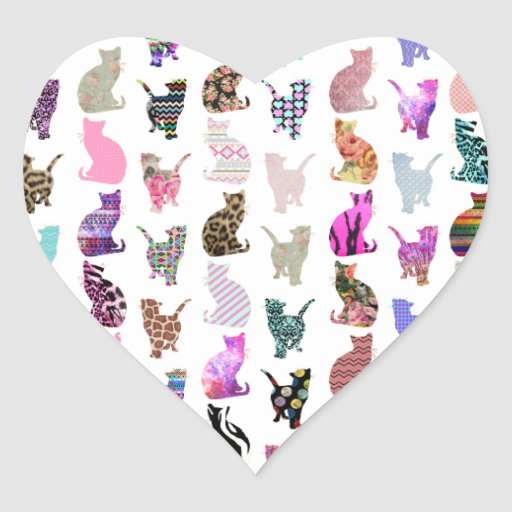Girly Whimsical Cats aztec floral stripes pattern Stickers