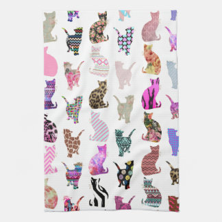 Girly Whimsical Cats aztec floral stripes pattern Tea Towel