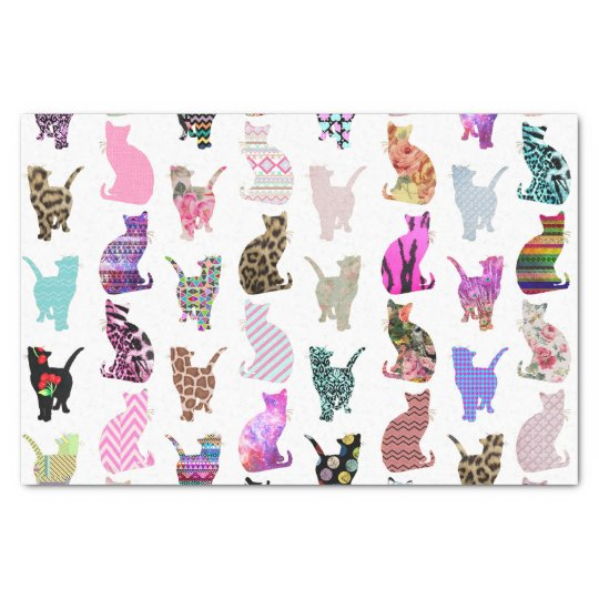 Girly Whimsical Cats aztec floral stripes pattern Tissue