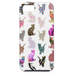 Girly Whimsical Cats aztec floral stripes pattern Tough iPhone 5 Case