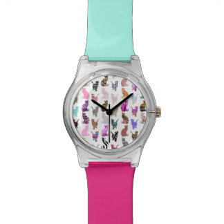 Girly Whimsical Cats aztec floral stripes pattern Watch