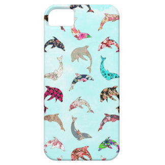 Girly Whimsical Dolphins Floral Pattern on Teal iPhone 5 Case