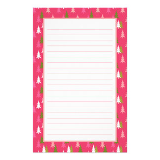 Girly Whimsical Pink Green Christmas Tree Pattern Stationery