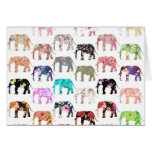 Girly Whimsical Retro Floral Elephants Pattern Note Card