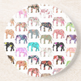 Girly Whimsical Retro Floral Elephants Pattern Coaster