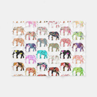 Girly Whimsical Retro Floral Elephants Pattern Fleece Blanket
