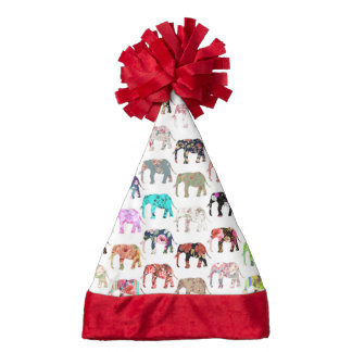 Girly Whimsical Retro Floral Elephants Pattern Santa Hat