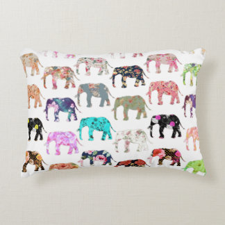 Girly Whimsical Retro Floral Elephants Pattern Accent Pillow