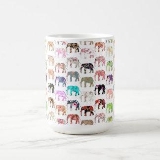 Girly Whimsical Retro Floral Elephants Pattern Coffee Mugs