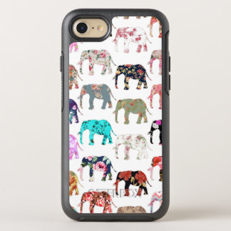 Girly whimsical retro floral elephants pattern OtterBox symmetry iPhone 7 case