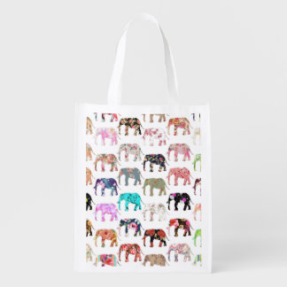Girly Whimsical Retro Floral Elephants Pattern Reusable Grocery Bag