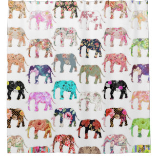Girly Whimsical Retro Floral Elephants Pattern Shower Curtain